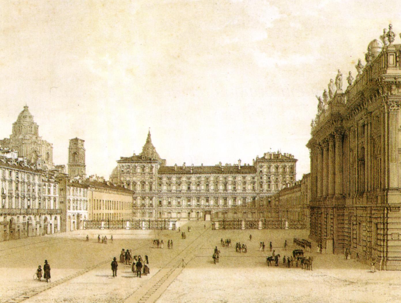 XIX_century_print,_Piazza_castello,_torino